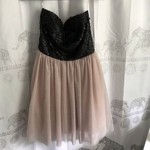 Strapless sparkly black and beige dress
